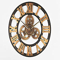 N /A Wall Clock Handmade Oversized 3D Retro Rustic Decorative Luxury Art Big Gear Wooden Vintage Large Wall Clock On The Wall for Gift