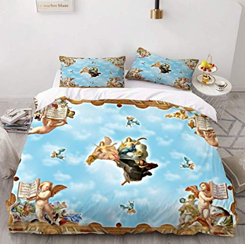 ysldtty 3D Bedding Set Angel Oil Painting Ancient Art Duvet Cover Cartoon Warm Bed Quilt Cover Kids Bedroom H0128U 220CM x 240CM With 2 pice pillowcase 50CM x 75CM