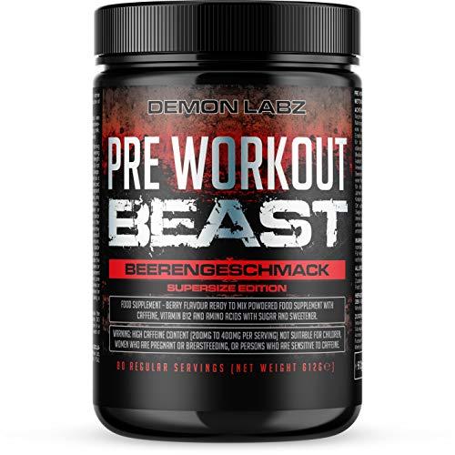 Pre Workout Beast - Pre Workout Booster mit Vitamin B12, was zur Verringerung von Müdigkeit & Ermüdung beiträgt - Mit Koffein, Beta Alanin und Glutamin (Beerengeschmack - 612g - 80 Portionen)