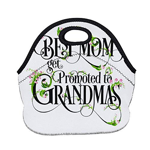 Best Best Moms Get Promoted to Grandmas Blessing Flower Neoprene Lunch Tote Insulated Reusable Picnic Lunch Bags Boxes for Women, Men and Kids Mom Bag Tote Bag for Work Office Picnic