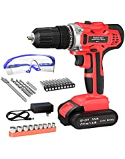 GardenJoy Cordless Power Drill Set: 21V Electric Driver Tool Kit with 24+1 High Torque 2 Variable Speed 3/8'' Keyless Chuck 1 Battery Charger Impact Screwdriver Tools for Home Improvement