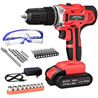 GardenJoy 21V Max Power Cordless Drill Electric Impact Driver/Drill Kit with 2 Variable Speed