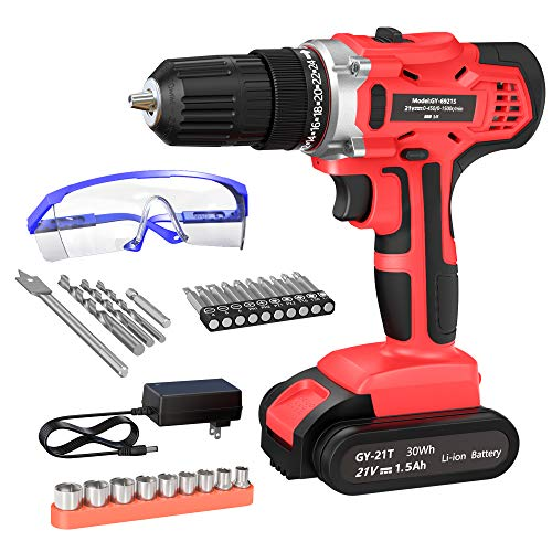 GardenJoy 21V Max Power Cordless Drill Electric Impact Driver/Drill Kit with 2 Variable Speed(0-1500) 3/8