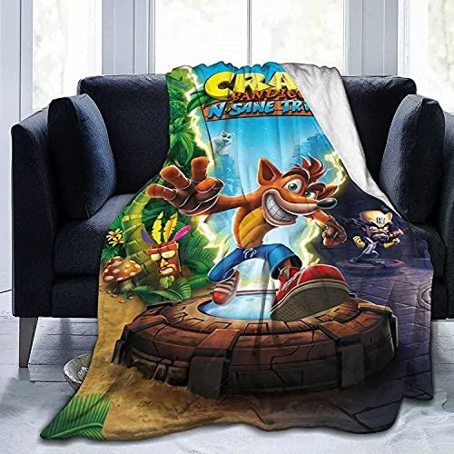 Crash Bandicoot Couverture en flanelle pour enfants style dessin animé Couverture en flanelle Convient pour la pause déjeuner, le camping, la lecture Couverture chaude (Bandicoot3, 135 x 200 cm)