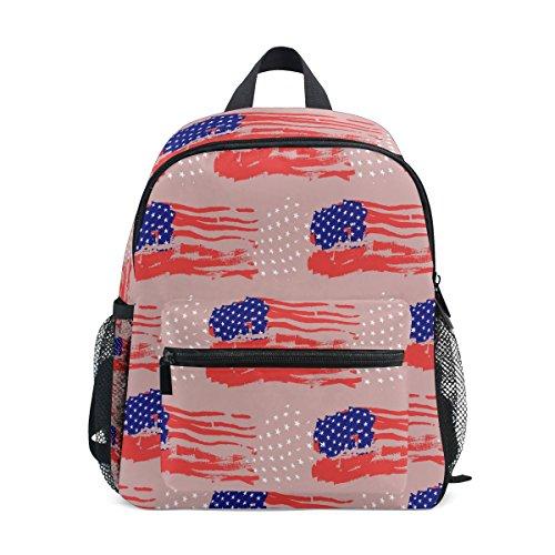 Kinderrucksack Rucksack USA Fahnen Auf Rosa Hintergrund Schultasche für Kinder Vorschule Jungen Mädchen Kleinkinder