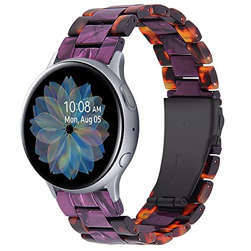 Vivoactive 3 Band, TechCode 20mm Premium Resina Pulseras con Correa de Repuesto enlazada con Hebilla de Metal Inoxidable para Samsung Galaxy Watch Active2/ Active/Galaxy Watch 42mm/ Watch3 41mm (C02)