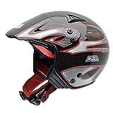 NZI 010125G059 Trials Carbon Red, Casco Moto, Taglia M, Nero/Rosso/Grigio