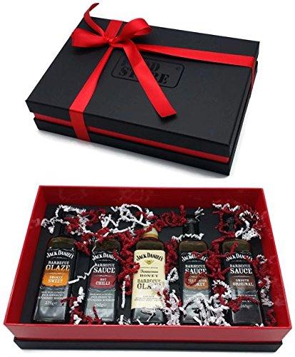 Geschenkpaket mit Jack Daniels BBQ Soßen, inkl. Honey Sonderedition - 5 Sorten Jack Daniels Tennessee Style Barbecue Sauce - Lieferung mit hochwertigem Geschenkkarton