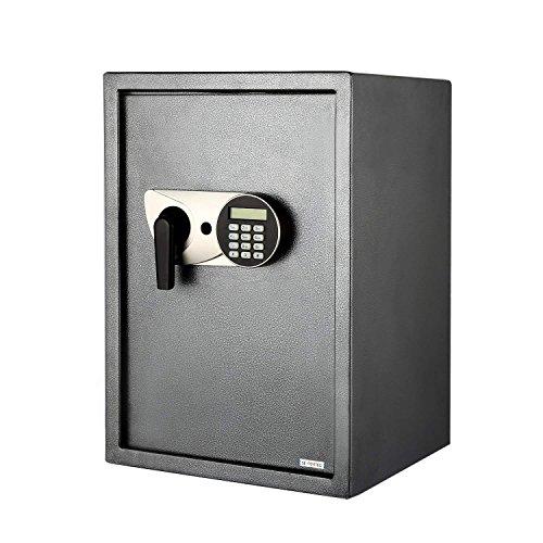 Aimado, cassaforte elettronica, con chiave, codice, schermo a LED, 35x 31x 50cm, nero. -