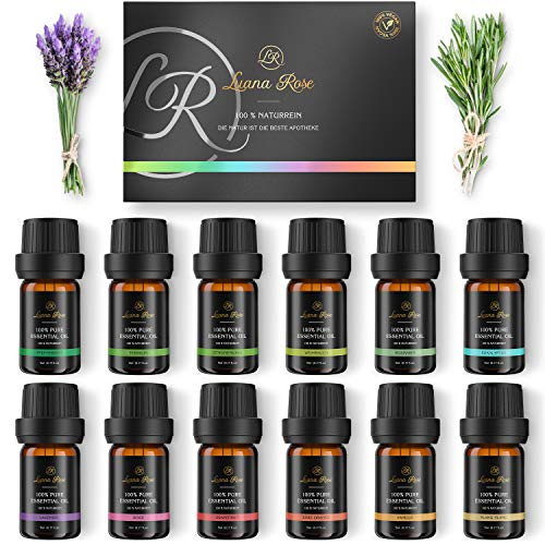 Luana Rose Ätherische Öle Set - 12x Duftöle 100% Naturrein für Diffuser - Aromatherapie Aroma Öl Geschenkset für Luftbefeuchter - Essential Oils für Massage Kerzen Seife - Süße Orange, Lavendel etc.