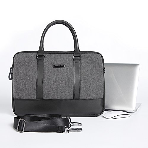 Urcover Laptoptasche 15 Zoll (45 cm), Notebooktasche Business London Slim Hülle Aktentasche für Laptop Notebook mit Schultergurt Kunststoff/Kunstleder Schwarz/Grau