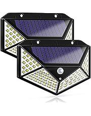 Findyouled Solar Lights Outdoor,100 LED Motion Sensor Solar Security Lights, Outdoor Waterproof Solar Wall Light for Gate,Yard,Garage (2 Packs, White)