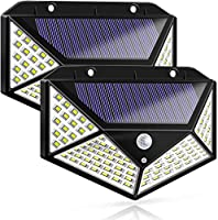LED Solar Lights Outdoor,100 LED Motion Sensor Solar Security Lights, Outdoor Waterproof Solar Wall Light for...