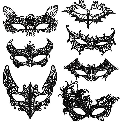 HOWAF 7 Stück Venezianische Maske Damen Spitze Maske Lace Maske Schwarz Augenmaske für Fasching Maskerade Halloween Karneval Cosplay Kostüm Party Gothic Gesichtsmaske, Katze, Teufelshorn, Spinne