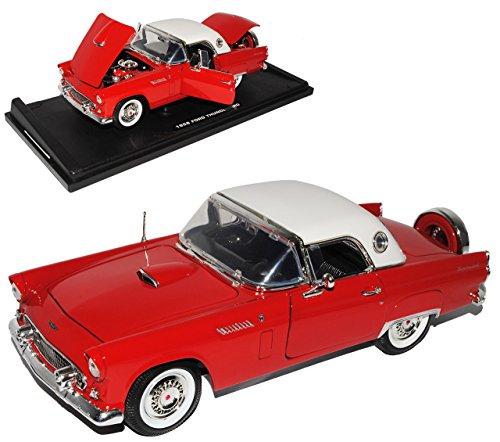 Motormax Ford Thunderbird 1956 Hard Top Rot Weiss Oldtimer 1/18 Modellauto Modell Auto