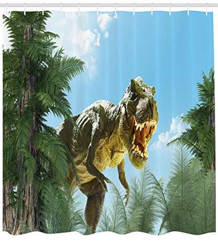 Tenda da doccia digitale Jurassic Monster Fossil Print per bagno