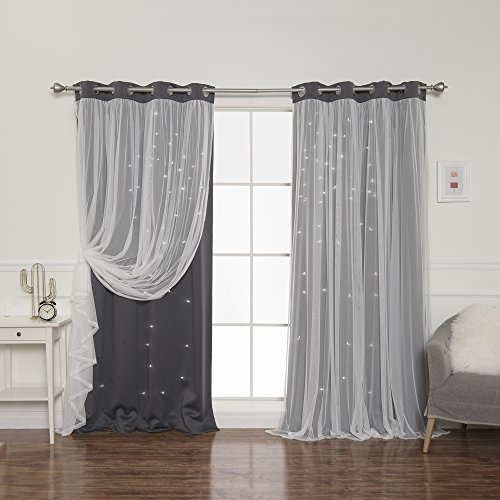 """Best Home Fashion Tulle Overlay Star Cut Out Blackout Curtains - Stainless Steel Grommet Top - Dark Grey - 52"""" W x 84"""" L (Set of 2 Panels)"""