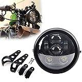 Samman 5-3/4 5.75Inch LED Motorcycle Headlight with Headlight Housing Bucket Hi/Lo Black