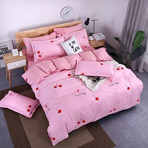 BH-JJSMGS Vierteilige Bettwäsche aus gebürsteter Baumwolle, bedruckter Bettbezug und Kissenbezug, kleine Kirsche 200 * 230 cm