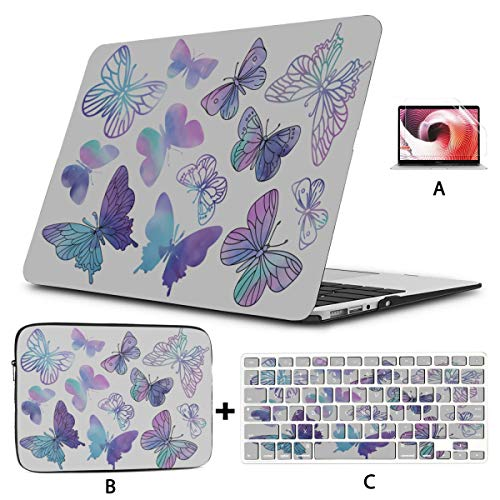 Macbook 13 Inch Case Clipart Purple Butterfly Color Laptop Protector Hard Shell Mac Air 11'/13' Pro 13'/15'/16' With Notebook Sleeve Bag For Macbook 2008-2020 Version
