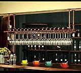 WGX Design For You Wine Bar Wall Rack 60'' Hanging Bar Glass Rack&Hanging Bottle Holder Adjustable(Bronze)