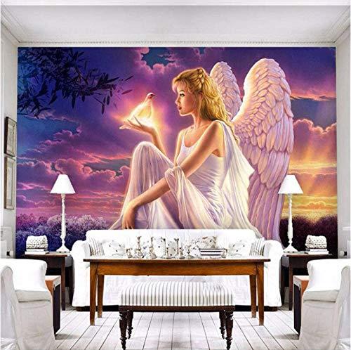 Hintergrundbild 3D Wallpaper Wohnzimmer Benutzerdefinierte 3D-Fototapete Weltfrieden Taube Schutzengel Mädchen Sonnenuntergang 3D-Wandbild Tapete Wohnzimmer Schlafzimmer
