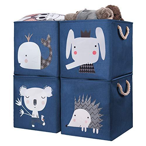 AXHOP Cajas de almacenamiento [4 unidades] plegado de 28 x 28. Cajas de almacenamiento. Cestas para estantería. Ideal para kallax, ropa, juguetes, libros, niños, guardería, oficina.