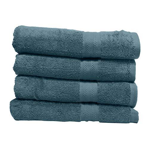 GoodDeal Juego de 4 toallas de calidad Premium 100% algodón 550 g/m² – Toalla ultra suave y suave con borde decorativo (turquesa, 140 x 70 cm)