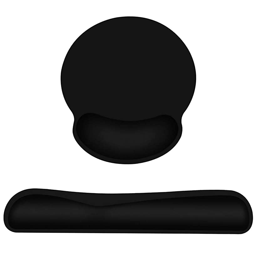Keyboard Wrist Rest Pad Mouse Pad, Memory Foam, Rest Pads Sets for Comfortable Typing & Wrist Pain Relief, Anti-Slip Rubber Base