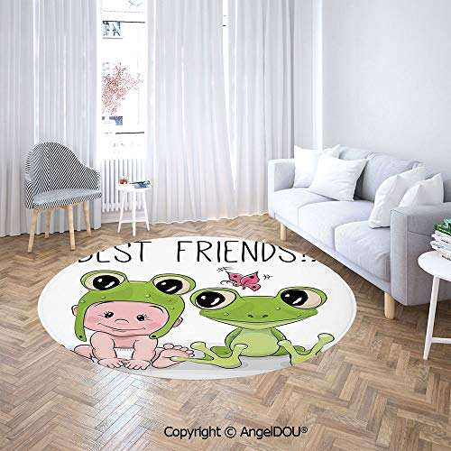 Homenon Area Rugs, Non-Slip Round Rug, Cute Cartoon Baby in Froggy Hat and Frog Best Love Theme Graphic Washable Living Room Bedroom Carpet for Kids Playmat Nursery Rugs (5'Diameter)