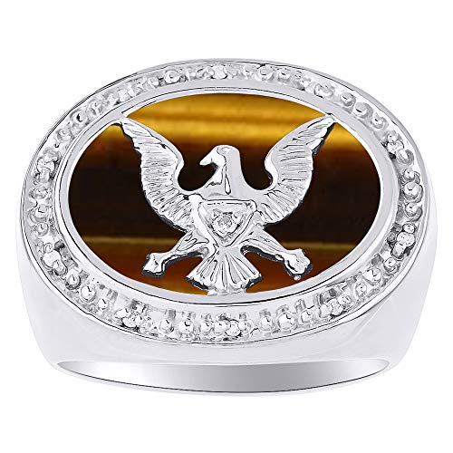 RYLOS Designer Patriotic Eagle USA Ring With Diamonds and Genuine Tiger Eye Set in 14K White Gold
