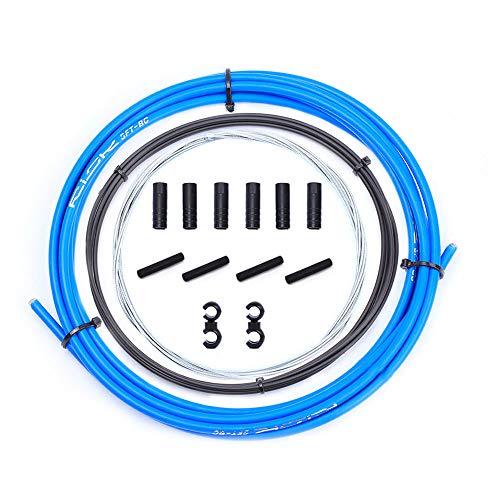 Kit de Cables de desviador de Bicicleta, Juego de Carcasa de Cable de Cambio de Bicicleta para Shimano Sram Bicicleta de Carretera MTB, Kit de reemplazo de Cable de desviador (Azul)