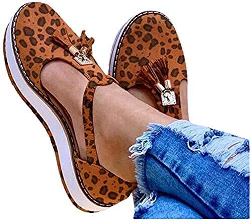 Platte sandalen voor dames Zomer Dikke bodem Wiggen Schoenen Casual Zomer Gesloten teen Espadrilles Sandalen Kwast Leren sandaal,Leopard print,43