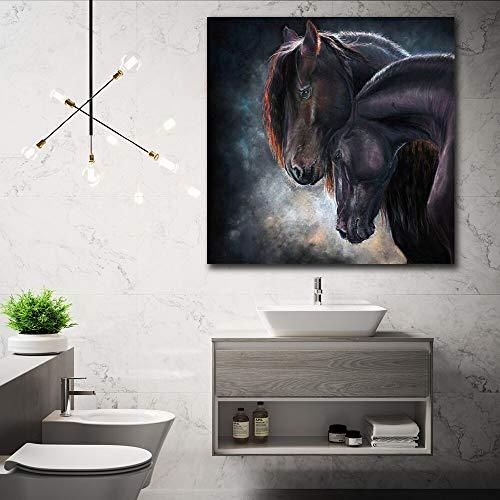 KWzEQ Imprimir en Lienzo Caballo Negro Arte de la Pared Imagen Decorativa decoración del hogar Sala de Estar sofá decoración de la pared80x80cmPintura sin Marco