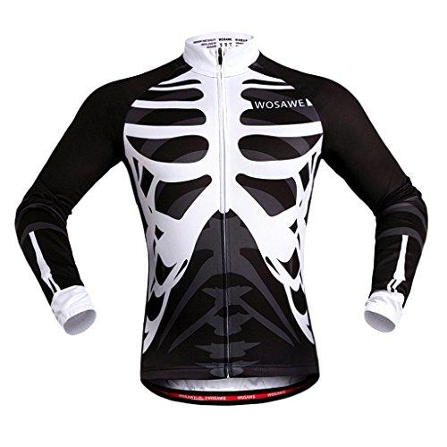 MagiDeal Unisex Atmungsaktiv Jersey Schnell Trockend Radfahren Radtrikot Fahrradtrikot - Schwarz mit Weiß, XL