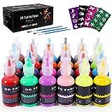 Emooqi Colori per Tessuti Permanenti 3D, Set di 24 Colori x 30ml, Colori per Pittura per Bambini e Adulti, Colori Fluorescenti Metallizzati per Stoffe Magliette Vetro Legno