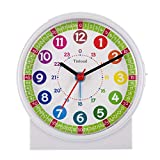 Tinload Analog Alarm Clock for Kids, Telling Time Teaching Design, Silent Non Ticking, Increasing Beep Sounds, Battery Operated Snooze and Light Functions