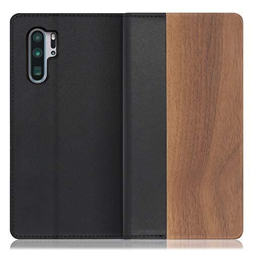 LOOF Nature HUAWEI P30 Pro ケース 手帳型 カバー 本革 天然木 ベルト無し ウッド 木製 木 カード収納 カードポケット 本革 高級 スタンド機能 手帳型ケース スマホケース (胡桃)