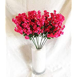 Floral Décor Supplies for Artificial Gypsophila 12 pcs Silk Baby's Breath Flowers Wedding Filler Gyp Dozen for DIY Flower Arrangement Decorations – Color is Hot Pink Fuchsia