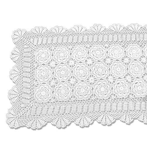 tidetex Vintage hecho a mano Crochet encaje mantel 100% algodón funda para...
