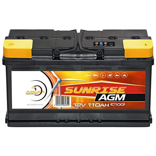 Solarbatterie AGM 12V 110Ah SUNRISE Versorgungsbatterie Wohnmobil Batterie 100Ah