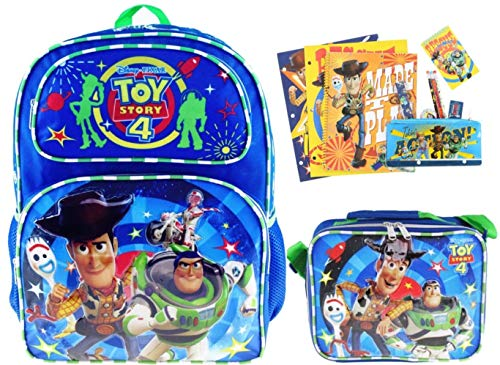 Toy Story 4 EXCLUSIVE 16' Backpack and Matching Insulated Lunch Bag PLUS 11 Piece Stationery Set