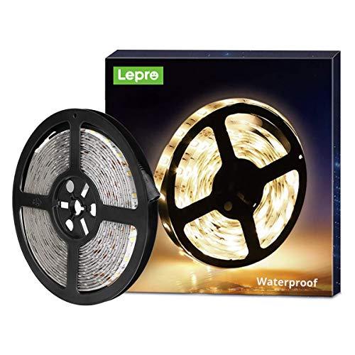 LE Tira LED, 5m 300 LED SMD 2835, Blanco Cálido, Resistente al Agua IP65, para Techo, Muebles, Cocina etc. no incluido fuente de alimentación