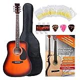Classic Cantabile guitare acoustique folk set démarrage incl. kit d'accessoires à 5 pièces, sunburst
