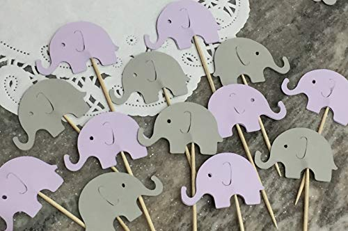 Lavender Purple and Light Grey Elephant Cupcake Toppers - NEW Larger Size 1.5' - Food Picks - Purple and Gray Elephants - Party Picks - Baby Shower Appetizer Picks (Set of 24)