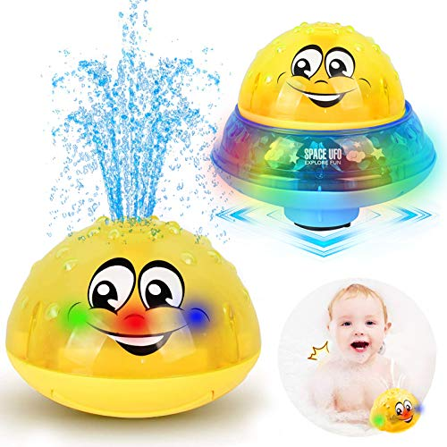 ZHENDUO Bath Toys, 2 in 1 Induction Spray Water Toy & Space UFO Car Toys with LED Light Musical, Automatic Sprinkler Bathtub Toys Light Up Bath Toys for Kids Toddlers 1-3