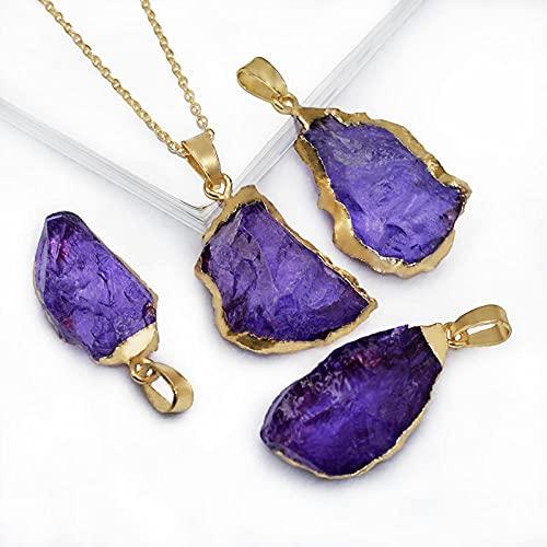 Colgante de piedra Cristal genuino Piedra en bruto con bordes DIY Collar de piedra con encanto Colores surtidos a elegir-Morado