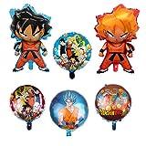 KRUCE Kit 6 Palloncini Dragon Ball Z in stagnola, Doppio Lato DBZ Super Saiyan Goku Gohan Decorazioni per Feste