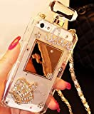 iPhone 8 Plus Case, iPhone 7 Plus Diamond Perfume Bottle Case,Goodaa Luxury Elegant Diamond Perfume Bottle Crystal Rhinestone Crown Cover Case For iPhone 8 Plus Case, iPhone 7 Plus with String(White)