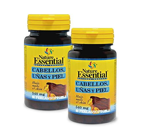 Cabellos uñas & piel 540 mg. 60 perlas con omega-3, L-cistina, hierro, zinc y vitaminas. Para fortalecer y frenar la caída del cabello y reforzar uñas y piel. (Pack 2 unid.)